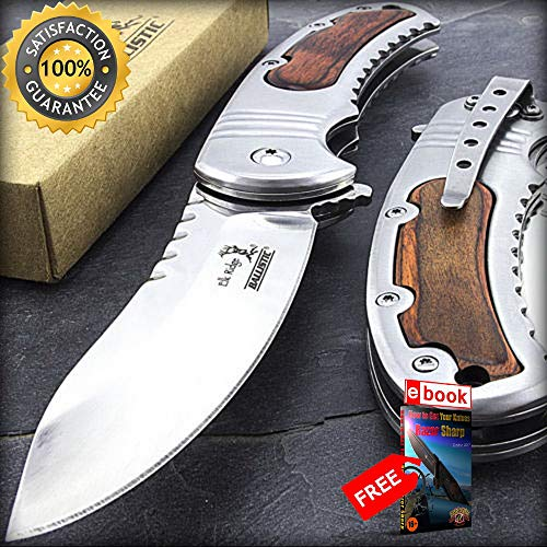 8'' ELK RIDGE BROWN HANDLE SPRING ASSISTED FOLDING POCKET KNIFE EDC Combat Tactical Knife + eBOOK by Moon Knives