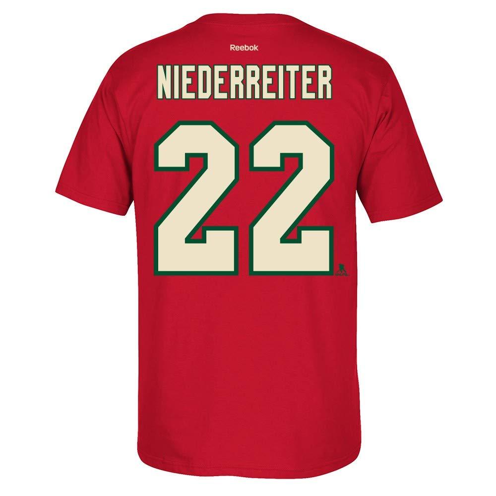 finest selection b6639 e0f57 adidas Nino Niederreiter Reebok Minnesota Wild Premier N&N Red Jersey  T-Shirt Men's