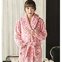 GL&G Autumn And Winter Flannel Quilted Bathrobes - Thicker Long Section Pajamas Nightgown Ms Pink Home Clothing,L
