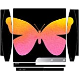Watercolor Butterfly Yellow Orange Pink Black Background Playstation 3 & PS3 Slim Vinyl Decal Sticker Skin by Moonlight Printing