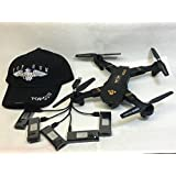 Top Gun Quadcopter RC Drone with HD Camera Wide Angle and Foldable WITH 5 BATTERIES, 5 WAY BATTERY CHARGER and TOP GUN Sports Cap