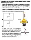 Yonico 12249 Shaker 2 Bit Rail and Stile Router Bit
