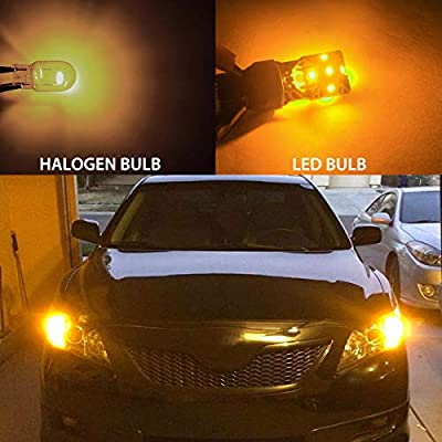 LASFIT 7443 7440 992 T20 LED Bulbs, Super Bright High Power LED Lights, Use for Turn Signal Blinker Lights, Side Marker Lights, Polarity Free Amber Yellow (Pack of 2),Need Resistor: Automotive