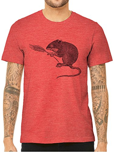 Austin Ink Apparel Mouse Having a Snack Short Sleeve Triblend Unisex T-Shirt (Heather Red, Small) (Red Snack Print)