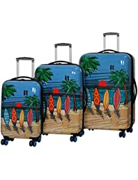 """Virtuoso Hardside 3 Piece """"Print"""" Luggage Set"""