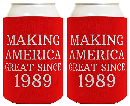 Birthday Gifts for 30th Birthday Making America Great Since 1989 30th Birthday Gag Gifts for Birthday Party 2 Pack Can Coolie Drink Coolers Coolies Red -