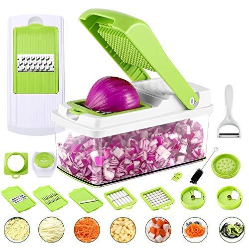 - Vegetable Chopper, 13-Piece Veggie Mandoline Slicer Dicer Multi Blade Veg Onion Chopper Kitchen Spiralizer Cutter, Quick & Handy Shredder Machine for Potato, Cheese, Salad, Fruit, Carrot, Tomato,etc