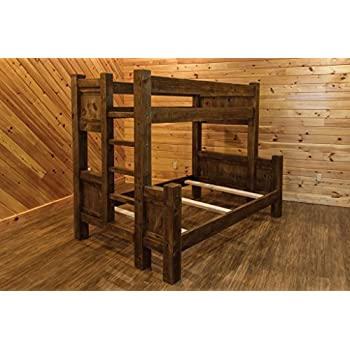Amazon Com Barn Wood Style Timber Peg Bunk Bed Full Over Queen