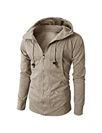 Men Clothes Clearance Charberry Hooded Jacquard Zipper Fleece Sports Sweatshirt Fashion Long Sleeve Pullover Blouse Tops