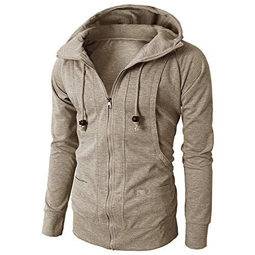 WOCACHI Mens Hoodies Zipper Solid Jacket Pullover Hooded Outerwear Slim Coat Deal Tops Blouse Shirt Autumn Winter Khaki