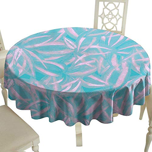 Waterproof tablecloth Pastel floral pattern pink blue leaves watercolor Hand paint foliage Exotic colorful strappy plants cordyline artistic collage Tropical plant wallpaper all over Great for Buffet