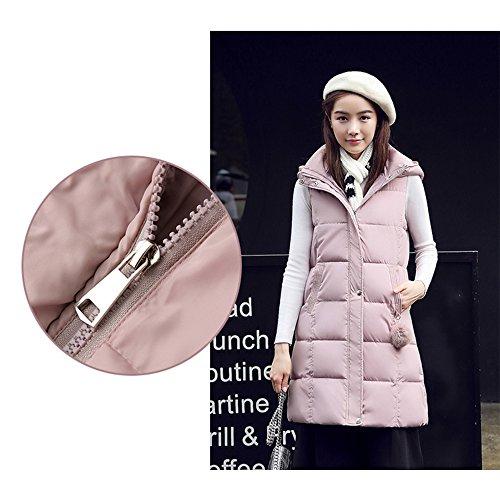 Zip Warm Vest Jacket Quilted Winter Sleeveless Pink Women Gilet XFentech Gilet Coat Long Up qwFPE8Y
