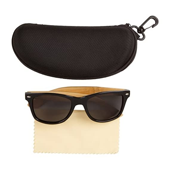 f5ec94a72c WOODIES Bamboo Wood Sunglasses with Plastic Frames 2 Handmade from REAL Bamboo  Wood (50%
