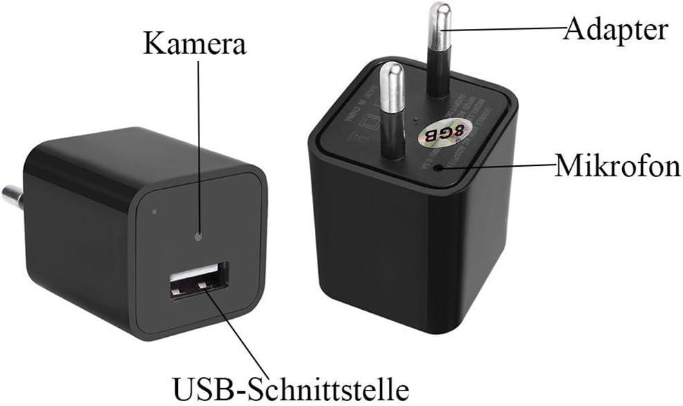 movimiento descubrir Vigilancia con 8/GB MEMORIA kamre 1080P HD Mini Vigilancia C/ámara oculta Nanny Kleine C/ámara /& USB de Cargador unidad C/ámara esp/ía Detecci/ón de Movimiento