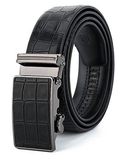 ITIEZY Men's Vintage Business Automatic Buckle Leather Ratchet Belt with Crocodile Pattern (Black Leather Vintage)