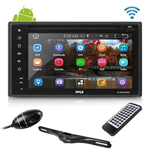 Double Din Car Receiver System - 6 Touchscreen Android Stereo with DVD and CD Player - 1080p DVR Dash Cam and Rearview Backup Camera with Web, App, GPS, Navigation and Bluetooth