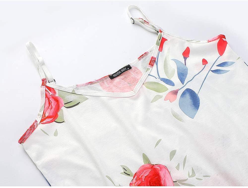 HUSKARY Womens Summer Casual Sleeveless V Neck Strappy Split Loose Dress Beach Cover Up Long Cami Maxi Dresses with Pocket