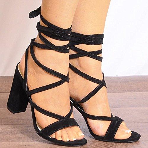 Womens Nero Pizzo Ups Wrap Round Strappy Sandali Peep Toes Tacchi Alti UK5/EURO38/AUS6/USA7