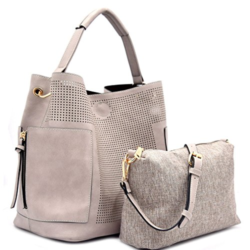 Le Miel Perforated Side Pocket Tote w/Inner Bag Crossbody- Gray