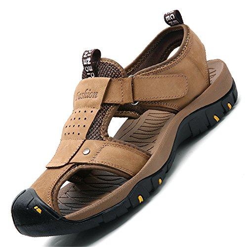 morbido sportivo da EU Dimensione all'aperto vera le punta shoes chiuso passeggiate Cachi Color in scarpe antiscivolo Sandalo Mens in a morbido chiusa uomo pelle per 2018 41 spiaggia ptqnvIRxw