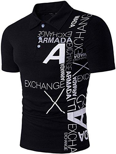 Sportides Mens Fashion Fashion Printing Short Sleeve Polo Shirt T-Shirt Tops JZA092 Black XL