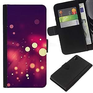 Protector de cuero de la PU de la cubierta del estilo de la carpeta del tirón BY RAYDREAMMM - Sony Xperia Z2 D6502 - Spots Bokeh púrpura