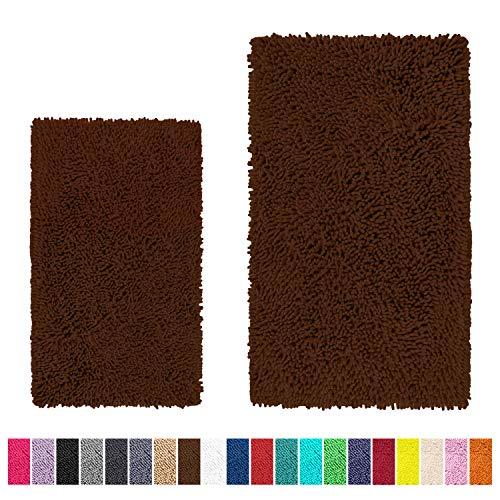 LuxUrux Bathroom Rug Set-Extra-Soft Plush Bath mat Shower Bathroom Rugs,1'' Chenille Microfiber Material, Super Absorbent(Rectangular Set, Brown)