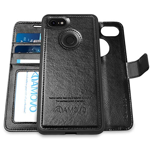 [Upgraded Version] AMOVO Pixel 3 Wallet Case [2 in 1] [Wireless Charger] Google Pixel 3 Case Wallet Detachable [Vegan Leather] Pixel 3 Flip Case with Gift Box Package (Pixel 3, Black)