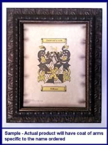 Erney Coat of Arms on Aged Parchment Look 8 1/2 x 11 Paper in Antique Bronze Wood Frame