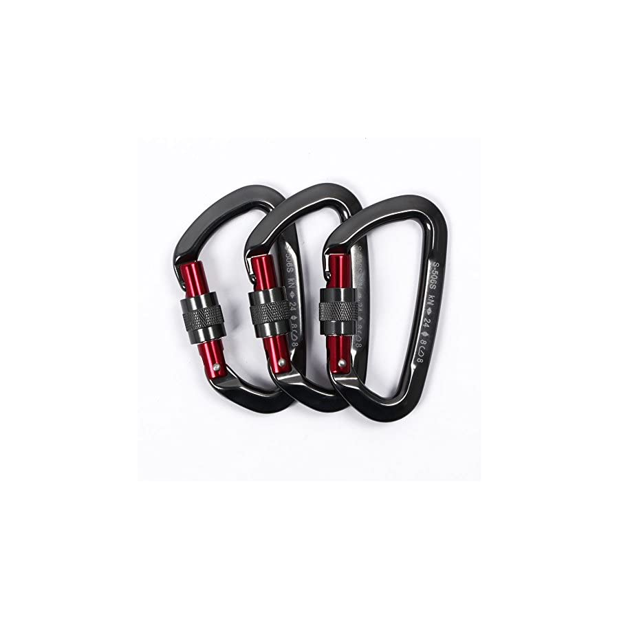 Sumder 3PCS D Ring Locking Climbing Carabiner Aluminum Dark Gray