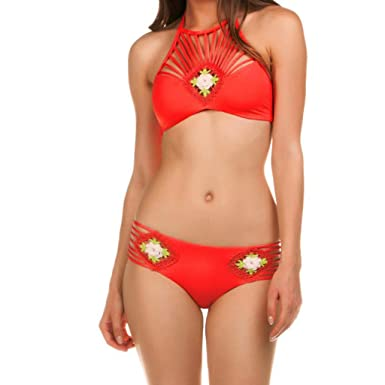 aaee1c1bd4 Ladies Casual Sexy One-Piece Swimsuit Bathing Sunscreen Solid Color Sports  Hollow Split Bikini Swimsuit Swimsuit at Amazon Women s Clothing store