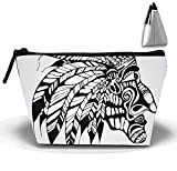 Tribal Tattoos Cosmetic Bags Travel Toiletry Pouch Portable Trapezoidal Storage Pencil Holders