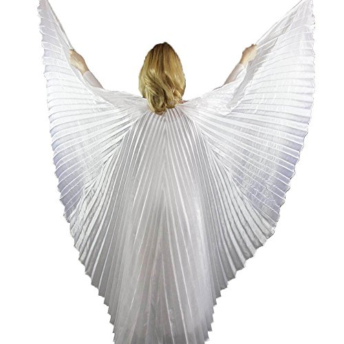 Danzcue Solid White Belly Dance Worship Angel Wings With Sticks (X-Large) (Dance Worship Costumes)