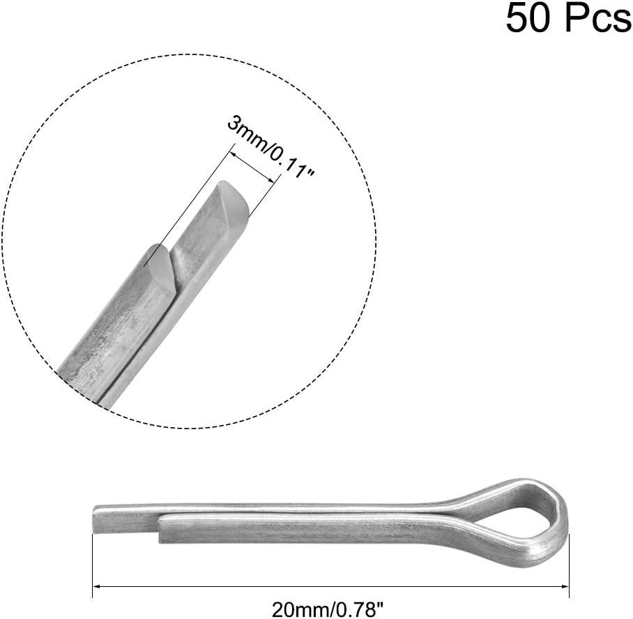 sourcing map 200 Stk 304 Edelstahl Feder Splinte Pin R Form Hardware 1,5mmx12mm