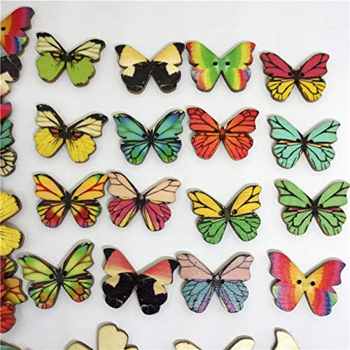Maslin 50 Pcs DIY Colorful Butterfly Snaps Wooden Buttons Wooden Snaps for DIY Craft Scrapbook Sewing Kniting
