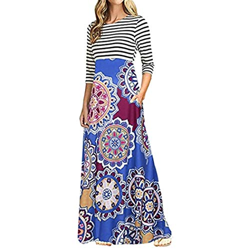 Todaies Women Long Sleeve Dress Women Striped Print Patchwork Pocket Bohemian Long Maxi Dress (M, Dark Blue) (Johnny Formal Dress)