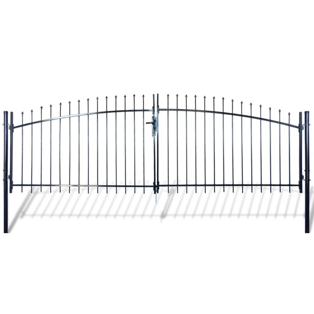 yorten Puerta Doble para Valla con Puntas de Lanza y Bisagra Perno Estable y Duradera 400x200cm Negro Acero