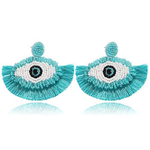 BEST LADY Tassel Earrings for Women - Statement Handmade Dangle Fringe Earrings for Women, Idea Gift for Sister, Wife and Friends (Eye Mint)