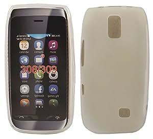 Gel Concha Caso Cubrir Para Nokia Asha 308 309 / Off White