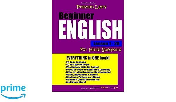 Preston Lees Beginner English Lesson 1 20 For Hindi Speakers