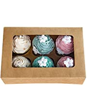 Cupcake Boxes with Inserts Hold 6 Standard Cupcakes,Brown Bakery Boxes, Cupcake Carrier, Cupcake Holder,Food Grade Kraft Cupcake Container for Muffins(Brown, 15)