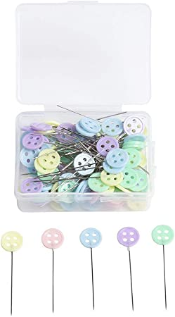 100pcs Sewing Accessories Patchwork Flower//Bow tie//Button Pins Sewing Pin with Box DIY Sewing Patchwork Pins Arts Crafts,Straight Quilting Pins for Dressmaking Jewelry Sewing Project D