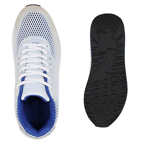 Unisex Laufschuhe Damen Herren Sportschuhe Neon Blumen Metallic Leder-Optik Schuhe Animal Print Sneakers Runners Profilsohle Flandell Weiss Blau