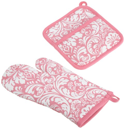 DII 100% Cotton, Machine Washable, Everyday Kitchen Basic, Damask Printed Oven Mitt and Pot Holder Gift Set, Pink (Pink Gift Set Apron)