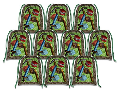 Pixel Mining World Drawstring Bags Kids Birthday Party Supplies Favor Bags 10 Pack