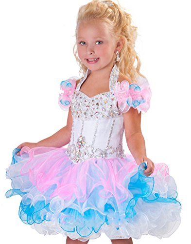 Zhiban Infant Girls' Halter Cupcakes Toddler Crystals Mini Pageant Dresses 1/1T US Pink&Blue ()