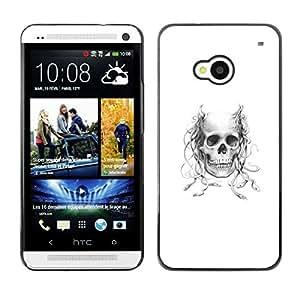 // PHONE CASE GIFT // Duro Estuche protector PC Cáscara Plástico Carcasa Funda Hard Protective Case for HTC One M7 / Astado Medusa cráneo /