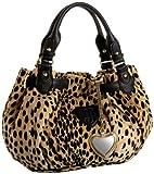 Juicy Couture Cheetah Print Fashion Velour Medium Freestyle Satchel,Black/Tan,one size