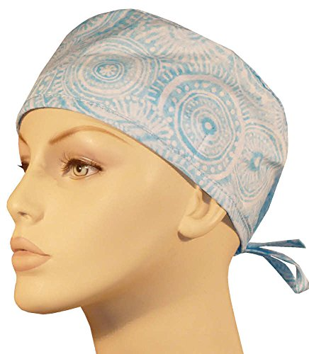 - Mens and Womens Scrub Cap - Sky Blue Batik