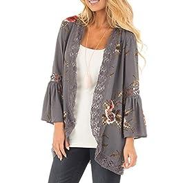 FORUU 3/4 Women Lace Floral Open Cape Casual Coat Loose Blouse Kimono Cardigan